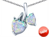 Original Star K™ 8mm and 6mm Heart Shape Created Opal Double Hearts Pendant