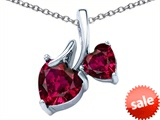 Original Star K™ 8mm and 6mm Heart Shape Created Ruby Double Hearts Pendant style: 306698