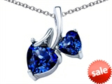 Original Star K™ 8mm and 6mm Heart Shape Created Sapphire Double Hearts Pendant