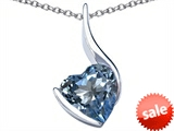 Original Star K™ Large 10mm Heart Shape Simulated Aquamarine Heart Pendant