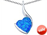 Original Star K™ Large 10mm Heart Shape Created Blue Opal Heart Pendant