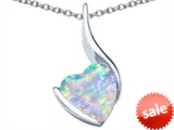 Original Star K™ Large 10mm Heart Shape Created Opal Heart Pendant