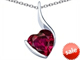 Original Star K™ Large 10mm Heart Shape Created Ruby Heart Pendant