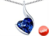 Original Star K™ Large 10mm Heart Shape Created Sapphire Heart Pendant