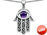 Original Star K™ Kabbalah Good Luck Hamsa Evil Eye Protection Pendant with Round Simulated Amethyst