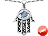 Original Star K™ Kabbalah Good Luck Hamsa Evil Eye Protection Pendant with Round Simulated Aquamarine