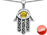 Original Star K™ Kabbalah Good Luck Hamsa Evil Eye Protection Pendant with Round Simulated Citrine