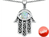 Original Star K™ Kabbalah Good Luck Hamsa Evil Eye Protection Pendant with Round Created Opal