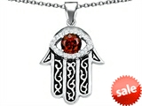 Original Star K™ Kabbalah Good Luck Hamsa Evil Eye Protection Pendant with Round Simulated Garnet