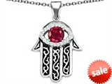 Original Star K™ Kabbalah Good Luck Hamsa Evil Eye Protection Pendant with Round Created Ruby