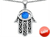 Original Star K™ Kabbalah Good Luck Hamsa Evil Eye Protection Pendant with Round Created Blue Opal style: 306717