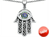 Original Star K™ Kabbalah Good Luck Hamsa Evil Eye Protection Pendant with Round Rainbow Mystic Topaz