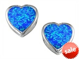 Original Star K™ 7mm Heart Shape Created Blue Opal Heart Earrings Studs style: 306721