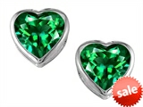 Original Star K™ 7mm Heart Shape Simulated Emerald Heart Earrings Studs style: 306722