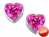 Original Star K™ 7mm Heart Shape Created Pink Sapphire Heart Earring Studs