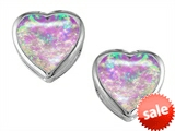 Original Star K™ 7mm Heart Shape Created Pink Opal Heart Earring Studs