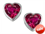 Original Star K™ 7mm Heart Shape Created Ruby Heart Earring Studs