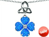 Celtic Love by Kelly™ Lucky Shamrock with Celtic Knot made with Heart 6mm Created Blue Opal