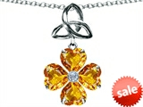 Celtic Love by Kelly™ Lucky Shamrock with Celtic Knot made with Heart 6mm Genuine Citrine