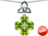 Celtic Love by Kelly™ Lucky Shamrock with Celtic Knot made with Heart 6mm Simulated Peridot