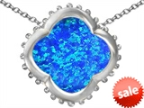 Original Star K™ Large Clover Pendant with 12mm Clover Cut Created Blue Opal style: 306746