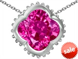 Original Star K™ Large Clover Pendant with 12mm Clover Cut Created Pink Sapphire