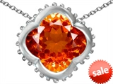 Original Star K™ Large Clover Pendant with 12mm Clover Cut Simulated Mexican Orange Fire Opal