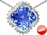 Original Star K™ Large Clover Pendant with 12mm Clover Cut Simulated Aquamarine