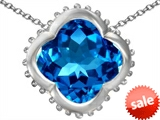 Original Star K™ Large Clover Pendant with 12mm Clover Cut Simulated Blue Topaz