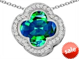 Original Star K™ Large Clover Pendant with 12mm Clover Cut Simulated Emerald style: 306757