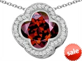 Original Star K™ Large Clover Pendant with 12mm Clover Cut Simulated Garnet