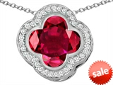 Original Star K™ Large Clover Pendant with 12mm Clover Cut Created Ruby style: 306759