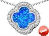 Original Star K™ Large Clover Pendant with 12mm Clover Cut Created Blue Opal style: 306760