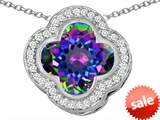 Original Star K™ Large Clover Pendant with 12mm Clover Cut Simulated Mystic Topaz style: 306761