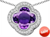 Original Star K™ Large Clover Pendant with 12mm Clover Cut Simulated Amethyst style: 306766