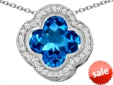 Original Star K™ Large Clover Pendant with 12mm Clover Cut Simulated Blue Topaz style: 306768