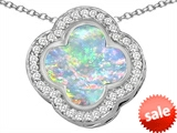 Original Star K™ Large Clover Pendant with 12mm Clover Cut Created Opal