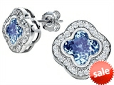 Original Star K™ Clover Earrings Studs with 8mm Clover Cut Simulated Aquamarine style: 306774