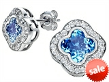 Original Star K™ Clover Earrings Studs with 8mm Clover Cut Simulated Blue Topaz style: 306775