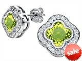 Original Star K™ Clover Earrings Studs with 8mm Clover Cut Simulated Peridot style: 306776