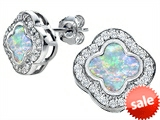 Original Star K™ Clover Earrings Studs with 8mm Clover Cut Created Opal style: 306777
