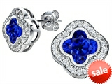Original Star K™ Clover Earrings Studs with 8mm Clover Cut Created Sapphire style: 306780