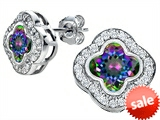 Original Star K™ Clover Earring Studs with 8mm Clover Cut Rainbow Mystic Topaz