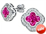 Original Star K™ Clover Earring Studs with 8mm Clover Cut Created Pink Sapphire