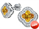 Original Star K™ Clover Earring Studs with 8mm Clover Cut Simulated Citrine