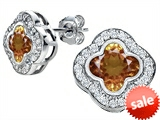 Original Star K™ Clover Earrings Studs with 8mm Clover Cut Simulated Imperial Yellow Topaz style: 306786