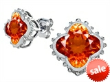 Original Star K™ Clover Earring Studs with 8mm Clover Cut Simulated Mexican Orange Fire Opal