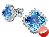 Original Star K™ Clover Earrings Studs with 8mm Clover Cut Simulated Blue Topaz style: 306790