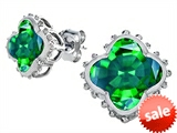 Original Star K™ Clover Earring Studs with 8mm Clover Cut Simulated Emerald