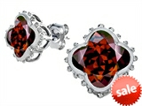 Original Star K™ Clover Earring Studs with 8mm Clover Cut Simulated Garnet
